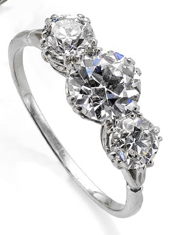 An early 20th century diamond three-stone ring