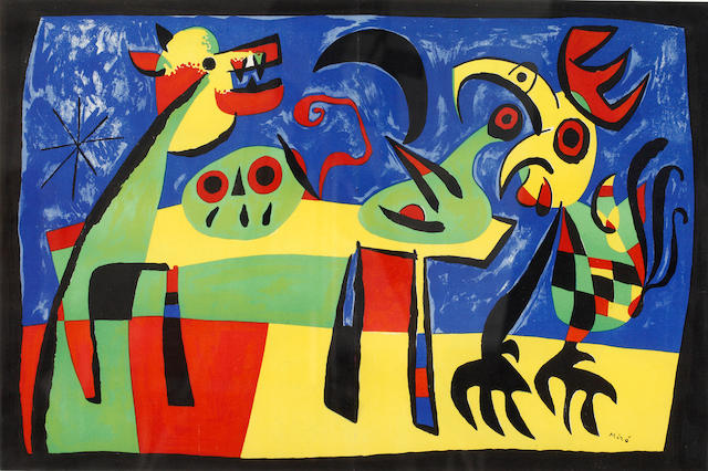 Joan Miró (Spanish, 1893-1983) Le Chien Aboyant a la Lune; and Femme au Miroir Lithographs printed in colours, each 350 x 530mm (13 3/4 x 20 7/8in) (SH) (2)