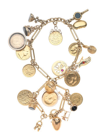 A gem-set charm bracelet (illustrated above)