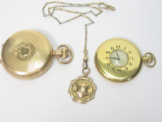 An 18ct gold half hunter pocket watch, by H. Wilsdorf of Geneva, retailed by Rolex (4)