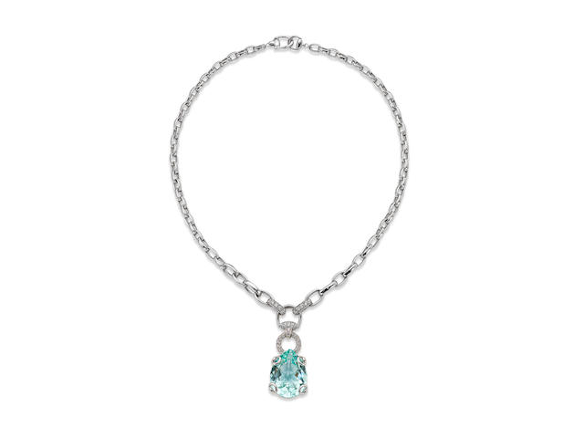 An aquamarine and diamond 'horsebit' necklace, by Gucci