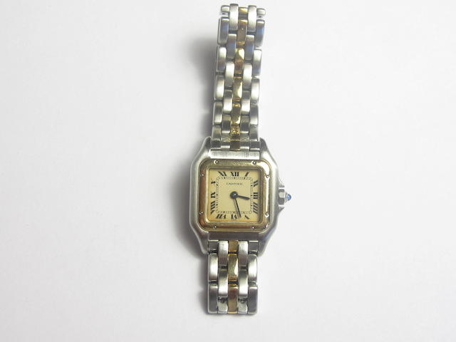 A lady's bi-colour 'Panthère' wristwatch, by Cartier, 1990