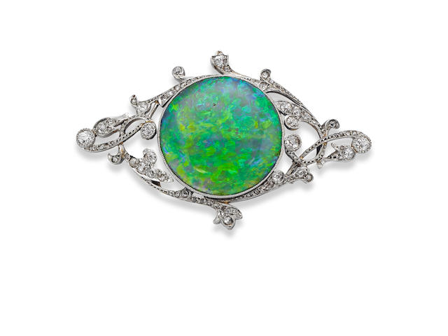 An early 20th century opal and diamond brooch