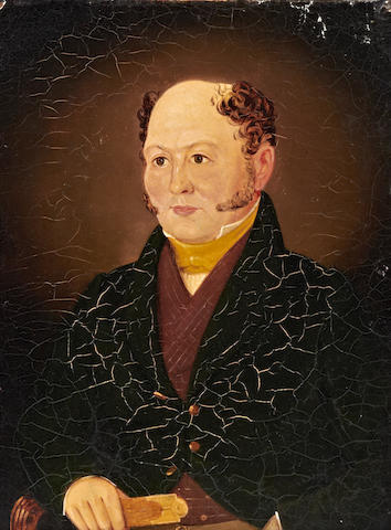 Welsh School, (circa 1830) Portrait of a gentleman thought to be Thomas Jones, surveyor and clerk of works to Sir Charles Morgan (bart), seated holding a folding ruler