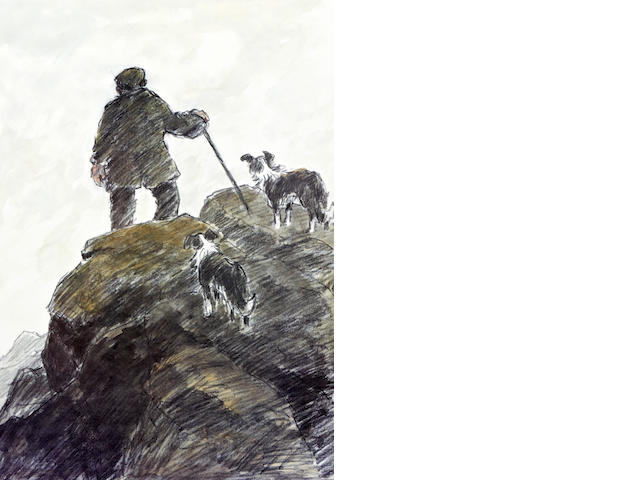 Sir Kyffin Williams R.A. (British, 1918-2006) Welsh farmer and sheep dogs