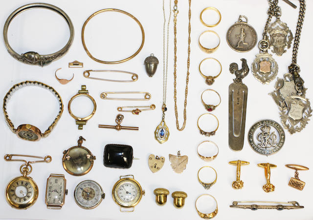 Costume & dress jewellery, gold ring, medals, toilet box & mother of pearl clock