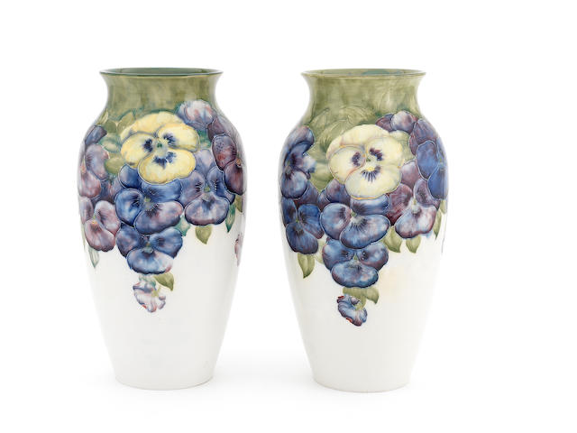 William Moorcroft 'Pansy' an Impressive Pair of Macintyre Vases, circa 1912