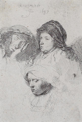Rembrandt Harmensz van Rijn (Dutch, 1606-1669) Three Heads of Women, One asleep Etching, 1637, on laid, trimmed just inside the platemark, 141 x 93mm (5 5/8 x 3 3/4in)(SH)