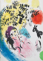 Marc Chagall (Russian/French, 1887-1985) Lithographe I - IV Four volumes, 1960-1974, comprising 28 lithographs printed in colours, volumes I, III and IV with text in French, volume II with text in German, printed by Mourlot Frères, Paris, bound in boards, in the original lithographed paper wrappers, three in protective slipcases, overall 325 x 250mm (12 3/4 x 9 3/4in)(4)(vol)