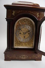 A late 19th century mahogany quarter-striking bracket clock Engraved J Hardy & Co, Aberdeen