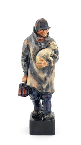 Doulton Burslem 'The Shepherd' a Rare Glaze Trial Model of HN 81, 1921