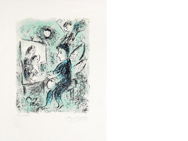 Marc Chagall (Russian/French, 1887-1985) Vers L'Autre Clarte Lithograph printed in colours, 1985, on wove, with stamped signature, inscribed 'epreuve d'artiste' in pencil, from the edition of 1000 with the blindstamp of the Atelier Marc Chagall, 628 x 478mm (24 6/8 x 18 6/8)(SH)