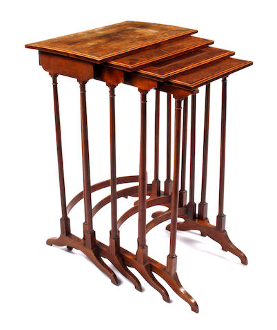 A good 19th century quartetto nest of rosewood and yew veneered and satinwood tables