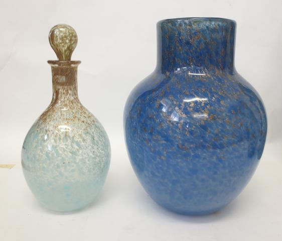 A Monart vase and a Monart decanter