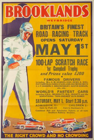 A rare 1937 BARC Brooklands Campbell Trophy race poster,