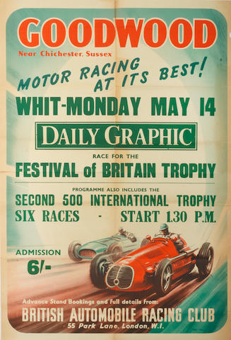 A rare 1951 BARC Goodwood 'Festival of Britain Trophy' race poster,