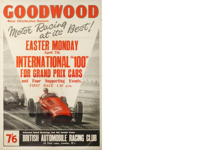 A BARC Goodwood Easter Monday 'International 100' race poster, 1955,