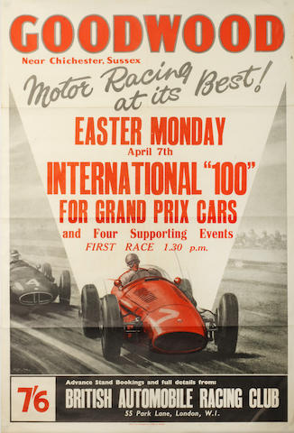 A BARC Goodwood Easter Monday 'International 100' race poster, 1955,
