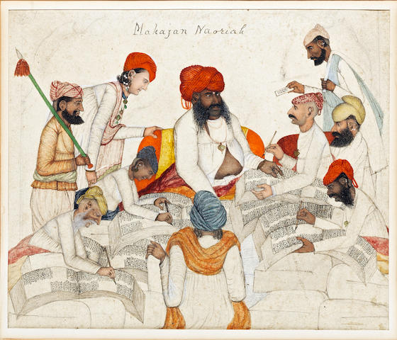 A Nourie banker with his assistants and petitioners Sind or Northern India, Lahore, circa 1850-60