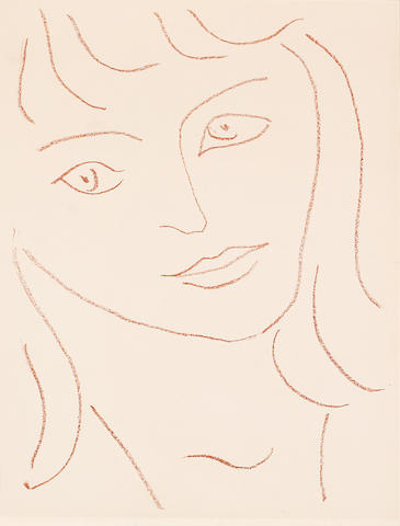 Henri Matisse (French, 1869-1954) One plate from Visages - Quartorze Lithographies Lithograph printed in sanguine, 1946, on wove, from an edition of 250, printed by Fequet and Baudier, published by Mourlot Frères, Paris, 335 x 253mm (13 1/4 x 9 7/8in)(SH)