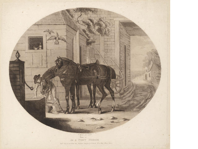 Thomas Gooch (British, active 1750-1802) The Life and Death of a Racehorse The set of six aquatints, published 1792 in London, on wove, together with the title page and essay, 290 x 335mm (11 3/8 x 13 1/3in)(PL)(7)(1 unframed)