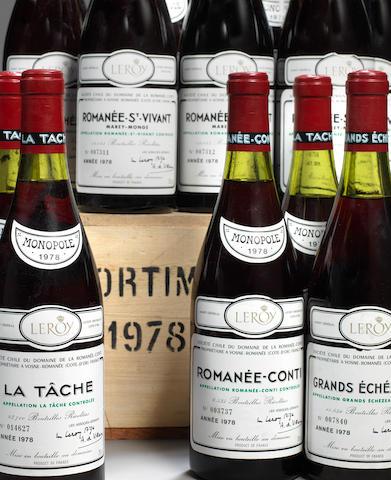 Domaine de la Romanée Conti Assortment Romanée Conti 1978 (1)  La Tâche 1978 (5)  Romanée-St-Vivant 1978 (4)  Grands-Echézeaux 1978 (2)