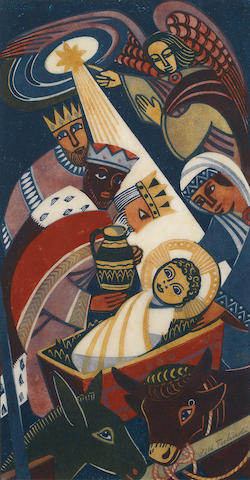 Lill Tschudi (Swiss, 1911-2001) Adoration of the Three Kings Linocut printed in colours, on tissue thin off-white oriental laid paper, signed, titled and numbered 23/50 in pencil, with thin margins, 381 x 203mm (15 x 8in)(SH)