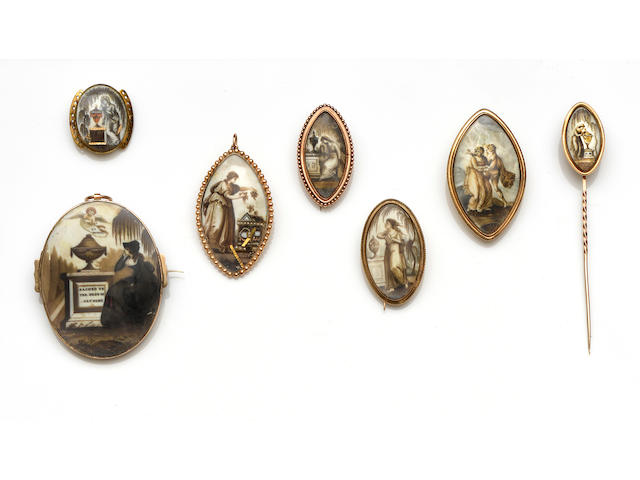 A collection of late 18th/early 19th Century mourning pendants and brooches (7)