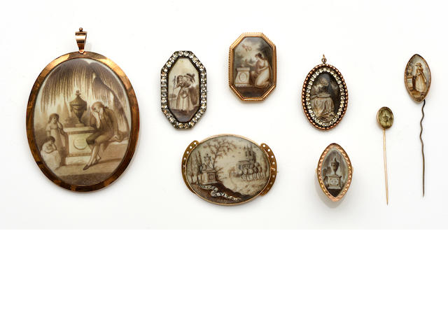 A collection of late 18th/early 19th Century mourning jewellery (8)