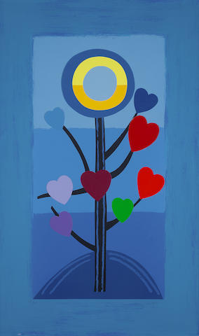Sir Terry Frost R.A. (British, 1915-2003) Blue Love Tree Screenprint and collage in colours, 2003, on wove, signed and numbered 25/85 in pencil, printed by Coriander Studio, London, published by CCA Galleries, Tilford, the full sheet printed to the edges, 1002 x 610mm (39 1/2 x 24in)(SH)