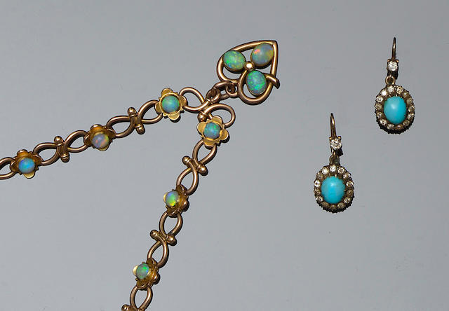 An opal set bracelet and a pair of turquoise and diamond cluster pendant earrings (2)