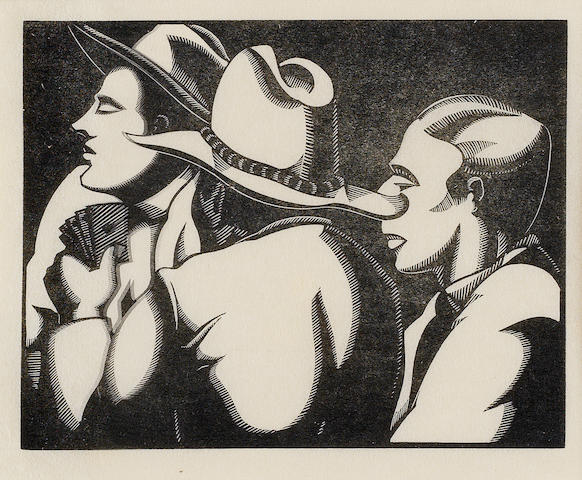 Robert Gibbings (Irish, 1889-1958) The Card Players Wood engraving, 1932, on Japan, a proof before the edition, with margins, 85 x 101mm (3 3/8 x 4in)(B)