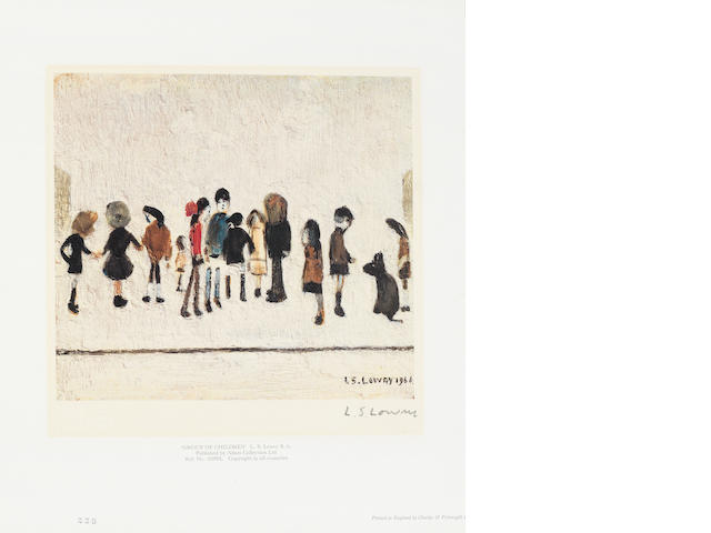 Laurence Stephen Lowry R.A. (British, 1887-1976) Group of Children Offset lithograph printed in colours, on wove, signed in pencil, guild stamped, from the edition of 850, together with 'Sketches', offset lithograph, on wove, guild stamped, from the edition of 850, printed by Chorley & Pickergill Ltd, published by Adam Collection Ltd, with margins, 300 x 255mm (11 3/4 x 10in)(SH)(unframed)(2)