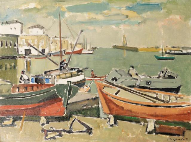 Yiannis Spyropoulos (Greek, 1912-1990) Port of Chania 60 x 80 cm.