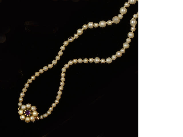 A natural pearl, cultured pearl and amethyst necklace