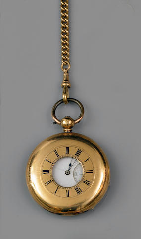 An 18ct gold half hunter pocket watch and a part Albert chain(2)