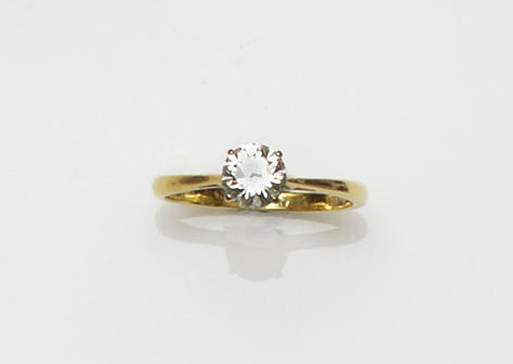 A single stone diamond ring, by Mappin & Webb