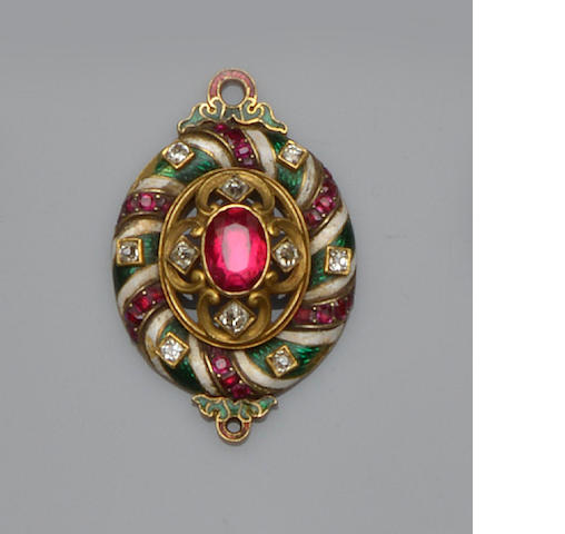 A 19th century Holbeinesque paste, enamel, ruby and diamond set pendant