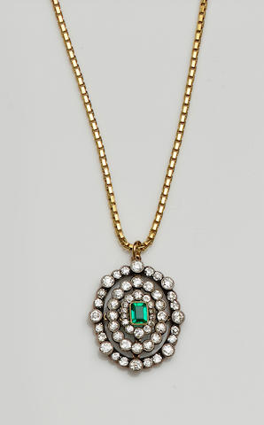 A Victorian emerald and diamond pendant