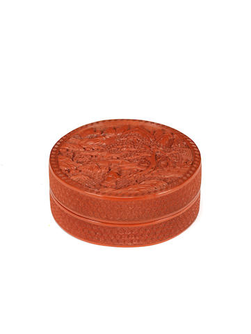 A fine cinnabar lacquer circular box and cover Qianlong