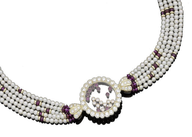A ruby, pearl and diamond 'Happy Diamond' necklace, by Chopard