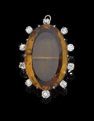 A late 19th century citrine and diamond brooch/pendant