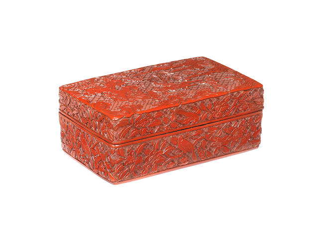 A rare cinnabar lacquer rectangular box and cover Late Ming Dynasty, 16th/17th century