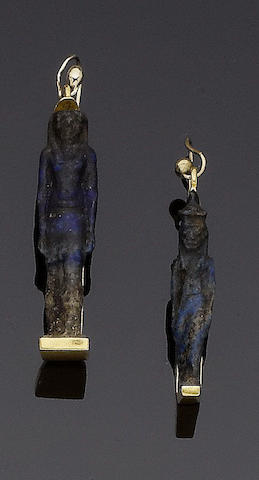 A pair of lapis lazuli pendent earrings