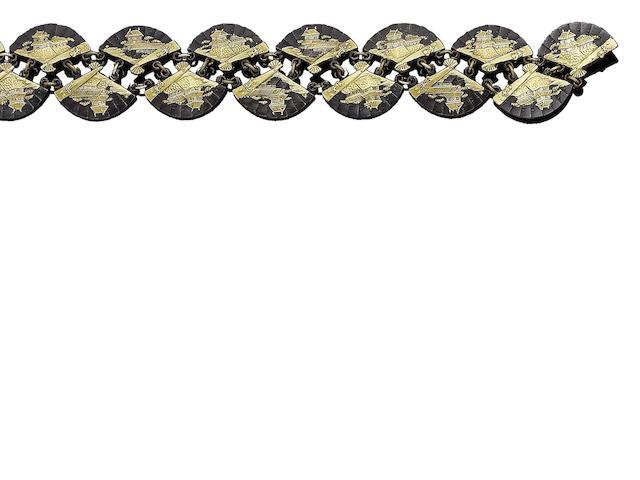 A late 19th century 'Shakudo' bracelet