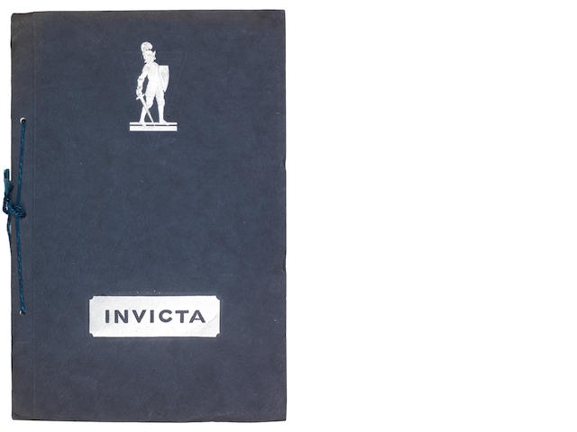 An Invicta 6-Cylinder 4½ Litre sales brochure, 1930,