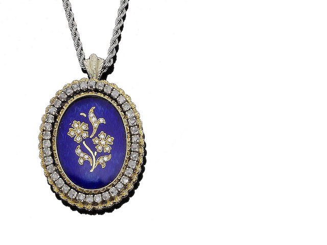 An enamel and diamond pendant necklace