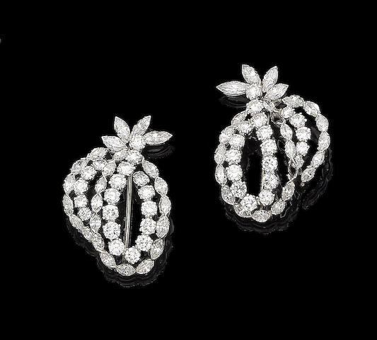 A pair of diamond brooches (2)