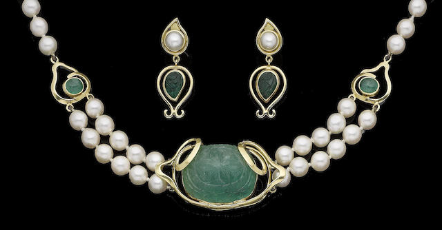A cultured pearl and emerald necklace and pendent earring suite, (2)