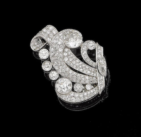 A diamond clip brooch,